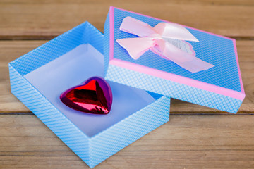 blue gift box with pink bow and heart inside
