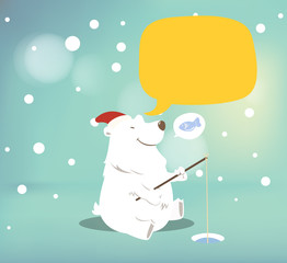 Polar bear with speech bubble.