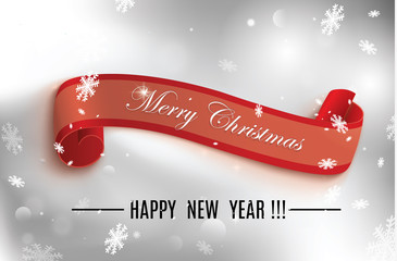 Merry Christmas red scroll.vector illustration of happy new year