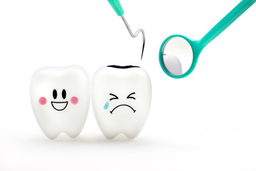 Teeth smile and crying emotion with dental mirror and dental plaque cleaning tool isolated on white background, With clipping path teeth and tool