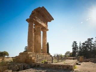 Temple of Dioscuri (Castor and Pollux). UNESCO World Heritage Site. Valley of the Temples. Agrigento, Sicily, ItalyAgrigento, Sicily, Italy