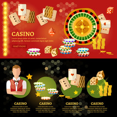 Casino infographic, playing cards baccarat table play casino