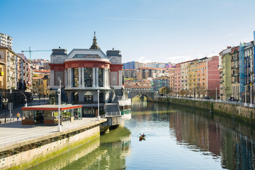 downtown bilbao on sunny day, spain