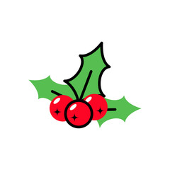 Icon simple mistletoe ornate red and green ornament. Vector flat