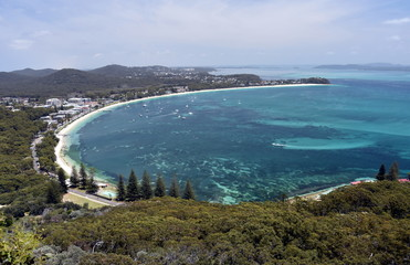Shoal bay on a sunny day from Mount Tomaree Lookout (Central Coast, NSW, Australia)