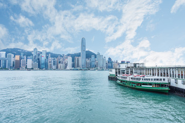 Hong Kong victoria harbor skyline and ferry pier,china.