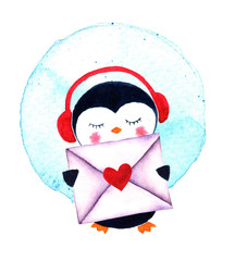 Cartoon penguin for babies and little kids. Watercolor illustration isolated on white background