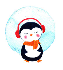Christmas cards with cute little penguin. Watercolor illustration isolated on white background