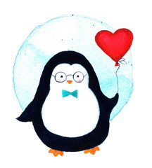 Cartoon penguin for babies and little kids. Watercolor illustration isolated on white background. Beautiful template greeting card.