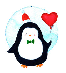Cute of a penguin cartoon celebrating Christmas with balloon heart. Watercolor illustration isolated on white background