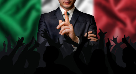 Italian candidate speaks to the people crowd