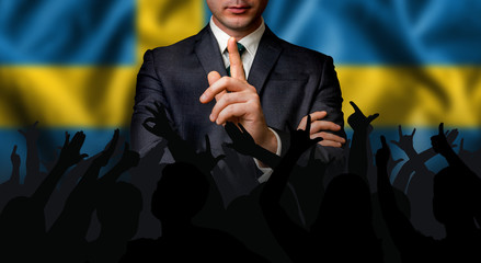 Swedish candidate speaks to the people crowd