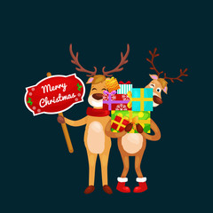 christmas set of deer with banner isolated, happy winter xmas holiday animal greeting card, santa helper reindeer vector illustration