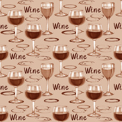 Wine seamless pattern. Hand-drawn pattern with wine stains