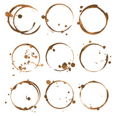 Coffee stains. Traces coffee splashes set. Vector.