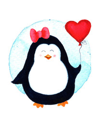 Pretty beautiful penguin for babies and little kids. Watercolor illustration isolated on white background