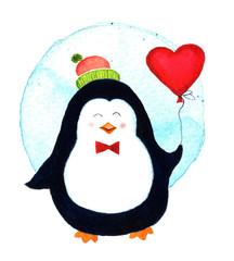 Cute penguin holding a big heart balloons for Valentines dayCartoon babies and little kids. Watercolor illustration isolated on white background