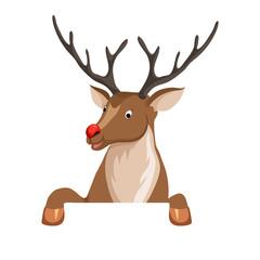 Peeking cartoon reindeer