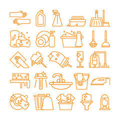 Cleaning icons set. Isolated signs and symbols of cleaning, housework, washing and equipment on white background.