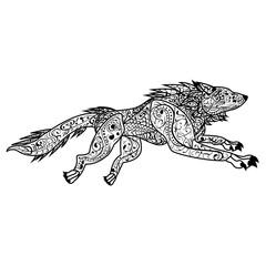 Zentangle Hand drawn vector doodle ornate  dog illustration