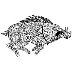 Stylized wild boar (razorback, warthog, hog, pig), isolated on white background.