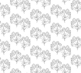 Seamless black and white pattern of roses