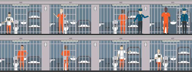 Life in jail set. Prisoners behind the bars. Police, indoors interior, people in orange uniform.