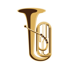 Isolated tuba on white background. Musical instrument. Element of orchestra.