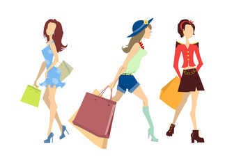Shopping women set. Elegant, young and slim women in different outfits with colorful shopping bags on white background.