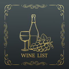 Decorative gold Banner Wine design .