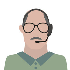 man with headset and glasses icon avatar