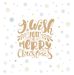 Merry christmas lettering over with snowflakes. Hand drawn text,