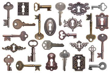 Set of old keys and keyholes isolated on white background