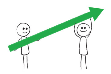 zwei Personen halten grünen Pfeil - Aufschwung