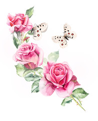 Pattern from pink rose. Wedding drawings. Watercolor painting. Greeting cards. Rose background, watercolor composition. Flower backdrop.