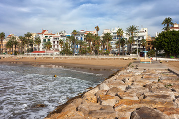 Sitges Town Skyline and Sea Pier in Spain