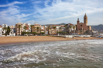 Coastal Town of Sitges in Spain