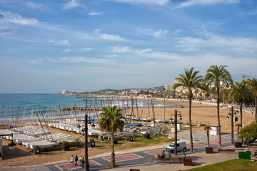 Sitges Town at Mediterranean Sea