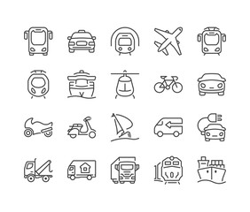 public and private transportation thin line icons