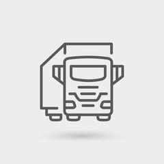 truck trailer thin line icon
