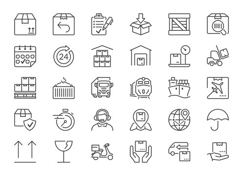 delivery and logistics thin line icons