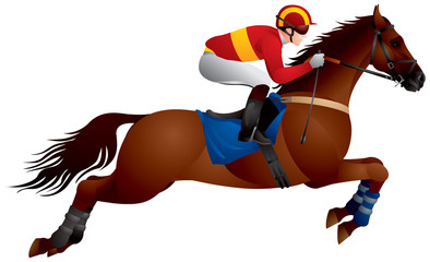 Horse race Derby jump, Equestrian sport horse and rider in vector, steeplechase, racing, Jockey, competition, horseman, Hippodrome, Thoroughbred horse, gambling, The Sport of Kings