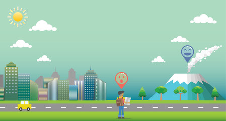 City with GPS navigation. Travel and destination. Background with traveler, mountain, road, car, cityscape, sun, sky and cloud. Environment concept for journey.