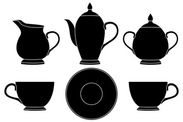 Tea set. Black silhouette icons