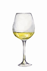 Watercolor white wine glass on white background. Alcohol beverage. Drink for restaurant or pub.