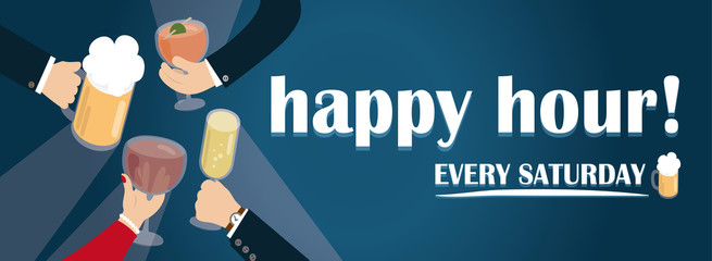drinking party vector banner