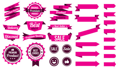set of pink ribbons , badges and labels. flat design concept. branding and sale decoration. vector illustration. isolated on white background.