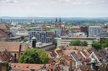 Beautiful panoramic view from the cathedral city of Freiburg im Breisgau. Black Forest. Germany.