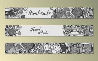 Cartoon doodles Handmade set of sketch banners