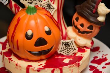 Halloween chocolate decoration on cake